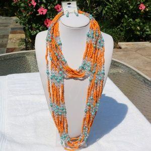 Boho Multi Strand Seed Bead Statement Necklace Set